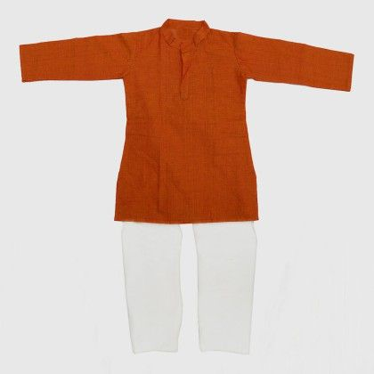 Cotton Kurta Pyjama Set - Orange - BownBee