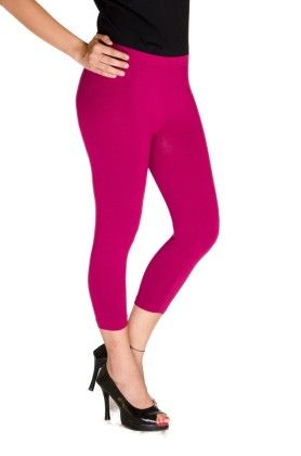 3/4th Leggings Solid Lycra Light Mauve - De Moza