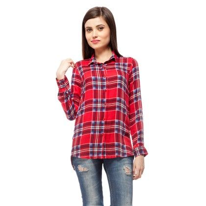 Red & Blue Plaid Shirt With Lace Back - StyleStone