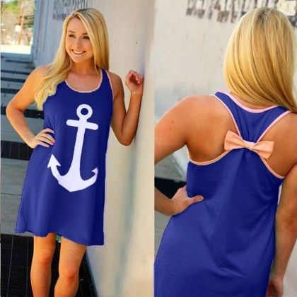 Anchor Bow Casual Wear Dress - Oomph