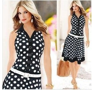 Sleeveless Chiffon Dress Black With White Polka Dots - Dell's World