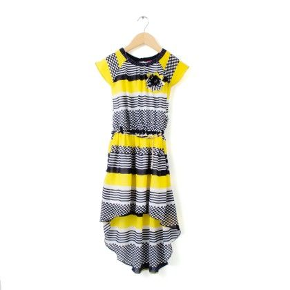 Party Wear Full Sleeves Dress - Yellow - TINY GIRL