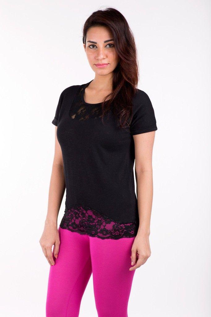 Short Sleeve Tops Solid Cotton Black - De Moza