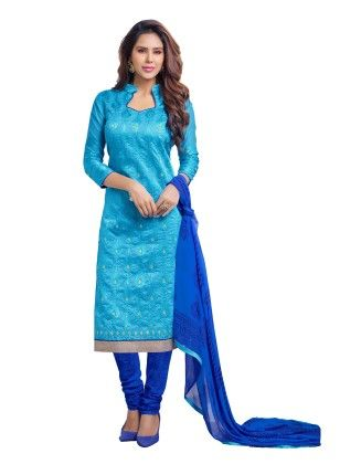 Sky Blue Exclusive Chanderi Printed Dress Material With Matching Dupatta - Riti Riwaz