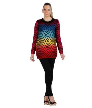 Geometric Designed Womens Sweater-multi - SKILDERS