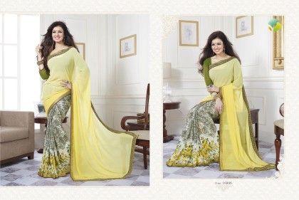 Lemon Yellow Floral Border Saree - Afreen