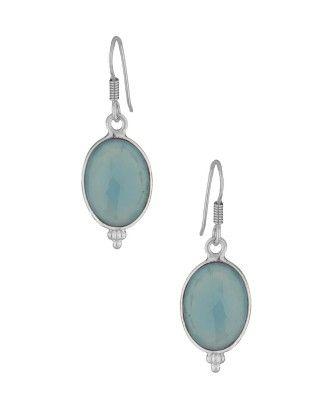 Voylla Elegant Sterling Silver Earring Adorn With Aqua Blue Stones