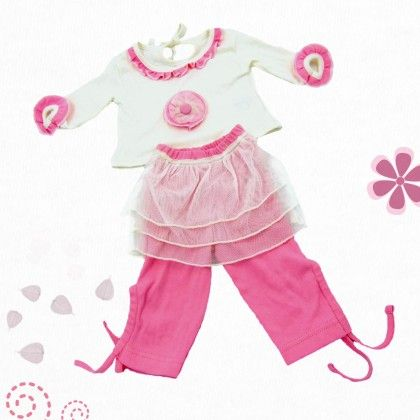 White Top And Net Layered Pink Leggins - TINY TODDLER