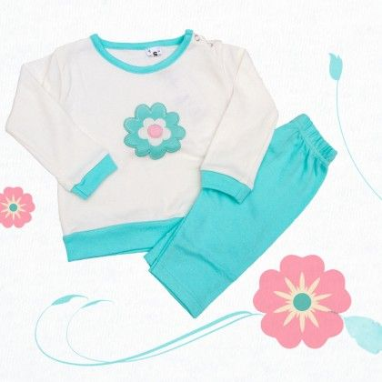 White Top With Flower And Green Bottom - TINY TODDLER