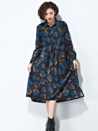 Flower Print Blue Dress - Drape In Vogue