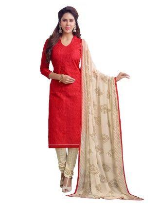 Red Exclusive Chanderi Printed Dress Material With Matching Dupatta - Riti Riwaz