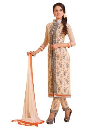 Beige Exclusive Straight Fit Dress Material With Nazmeen Fancy Dupatta - Riti Riwaz