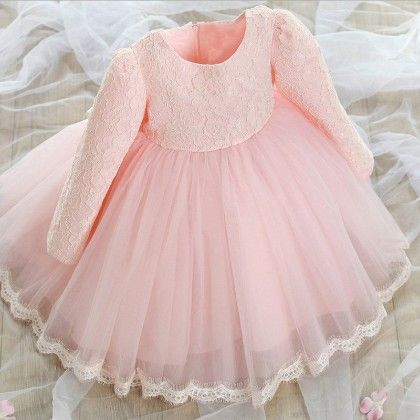 Peach Giirl Flouncy Pink Lace Gown  - Pink