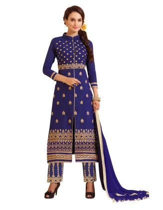 Blue Exclusive Straight Fit Dress Material With Nazmeen Fancy Dupatta - Riti Riwaz