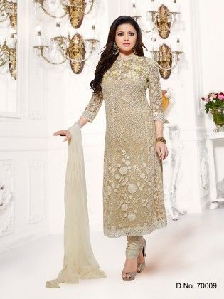 Net Dress Material Beige - Touch Trends Ethnic