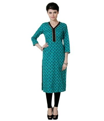 Sea Green Printed Kurti - Riti Riwaz