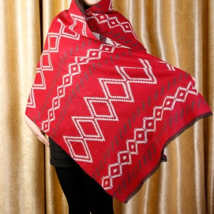 Red Printed Knitted Scarf - Glaze