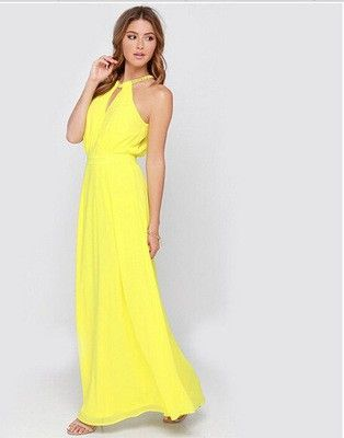Lovely Halter Long Beach Yellow Dress - Dell's World