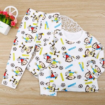 Sweet Monkey Print Night Wear - Multi - 2 Pcs Set - Snuggle Bunny