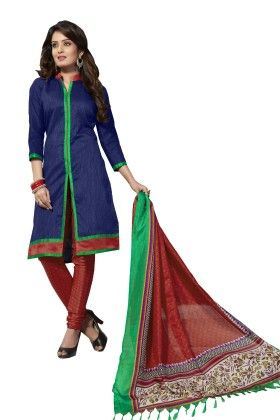 Blue Solid Semi Sticthed Suit With Matching Dupatta - Varanga