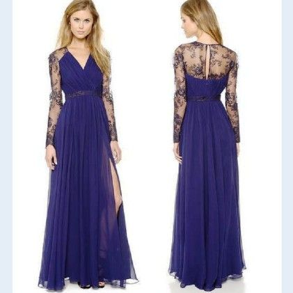 Long Lace Gown Formal Dresses - Dell's World