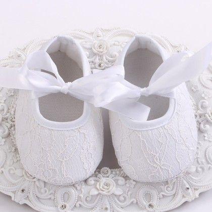 White Baby Girls Shoe With Ribbon - Angel Closet