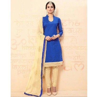 Blue Baize Chanderi Dress Material - Blue & Beige - Volono