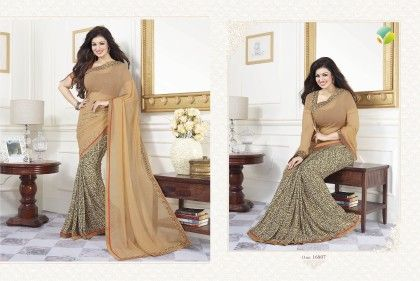 Golden Half Border Saree - Afreen