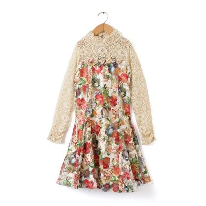Party Wear Full Sleeves Dress - Fawn - TINY GIRL