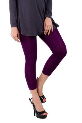 Ladies 3/4th Leggings Solid Viscose Lycra Dark Purple - De Moza