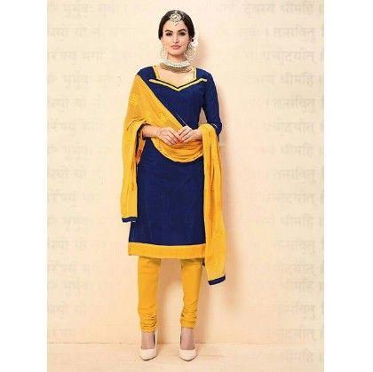 Yellow Navy Blue Chanderi Dress Material - Yellow & Navy Blue - Volono