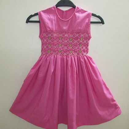 Baby Frock With Diamond Design Smocking - Angel Closet