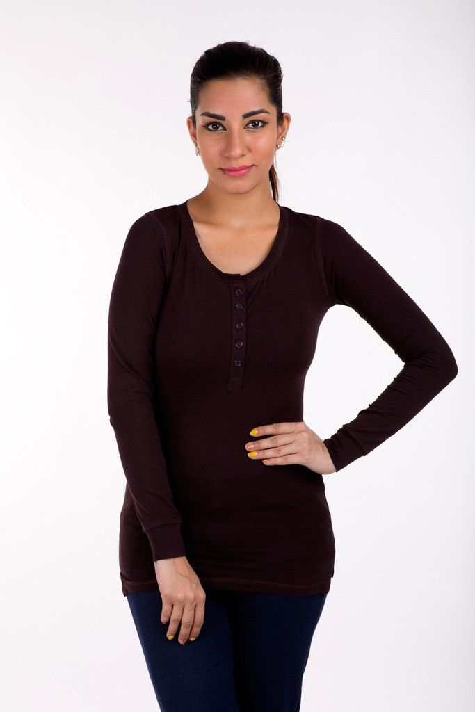 Full Sleeve Tops Solid Cotton Lycra Brown - De Moza