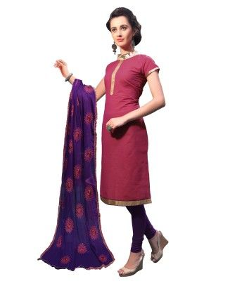 Pink Exclusive Dress Material With Embroidery Fancy Dupatta - Riti Riwaz