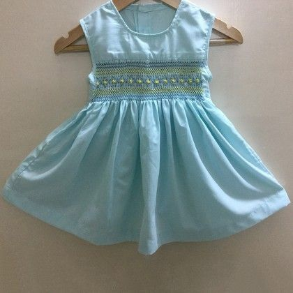 Blue Baby Frock With Rose And Diamond Design Smocking - Angel Closet
