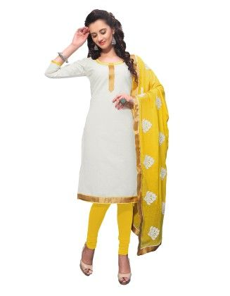 White Exclusive Dress Material With Embroidery Fancy Dupatta - Riti Riwaz