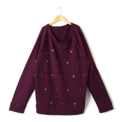 Sequnce Work Sweat Tshirt Plus Size - Maroon - STUPA FASHION