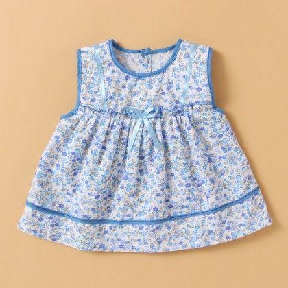 Blue Floral Print Cotton Frock - BUBBLES