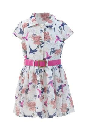 White-pink Georgette Floral Printed Dress - Magic Fairy