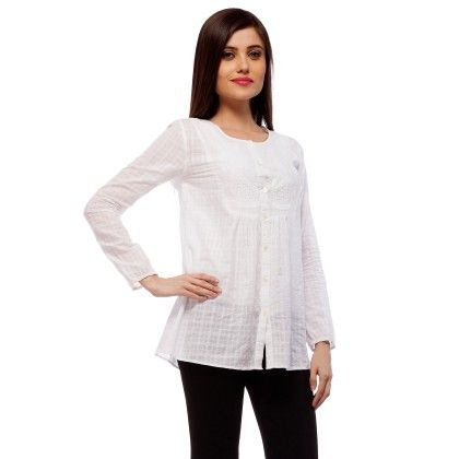 White Embroidered Cotton Top - StyleStone - 235014
