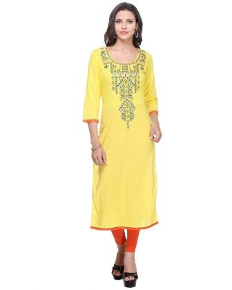 Yellow Cambric Printed Kurti - Riti Riwaz - 250394