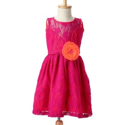 Marshmallow Cotton Lace Dress With Cotton Crepe Lining