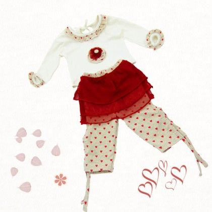 White Top And Net Layered Red Hearts Leggins - TINY TODDLER