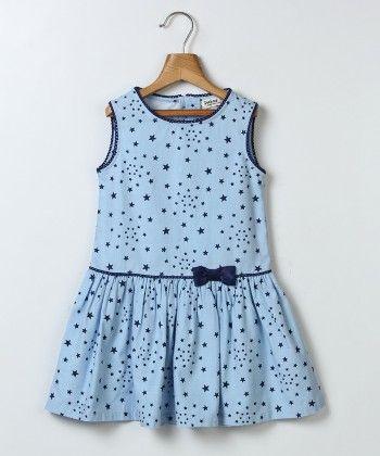 Star Print Dress With Bow Blue - Beebay - 249567