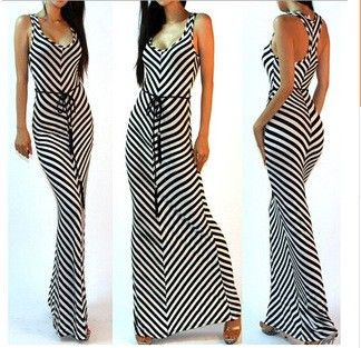 Elegant Black And White Stripes Long Dress - Dell's World