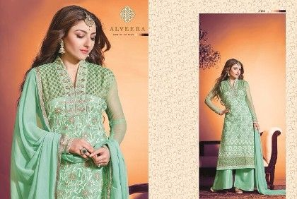 Sea Green Embroided Semi Stitched - Afreen