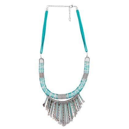 Sea Blue Necklace With Dangling Silver Motifs - Voylla