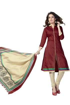 Maroon Solid Semi Sticthed Suit With Matching Dupatta - Varanga