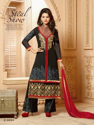 Black-georgette Dress Material - Touch Trends Ethnic