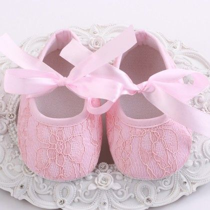 Pink Baby Girls Shoe With Lace Design - Angel Closet